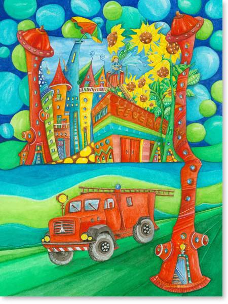 Aquarell Feuerwehr Stadt - Wandbild fürs Kinderzimmer