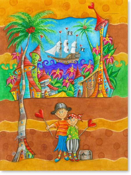 Aquarell Piraten Stadt - Wandbild fürs Kinderzimmer