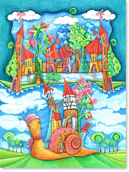Aquarell Zuhause - Wandbild fürs Kinderzimmer