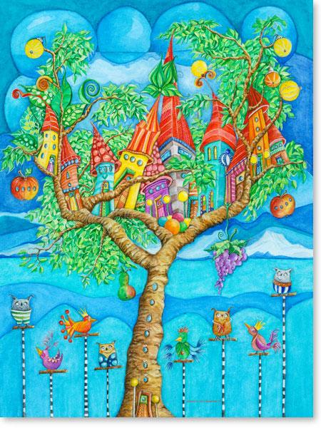 Aquarell Baumstadt - Leinwandbild fürs Kinderzimmer