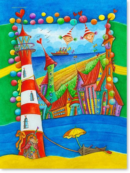 Aquarellbilder Leuchtturm Stadt - Wandbilder fürs Kinderzimmer