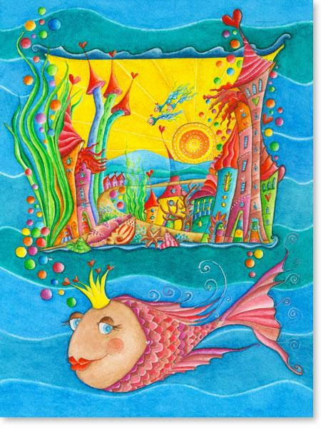 Aquarell Wasserstadt - Wandbild fürs Kinderzimmer