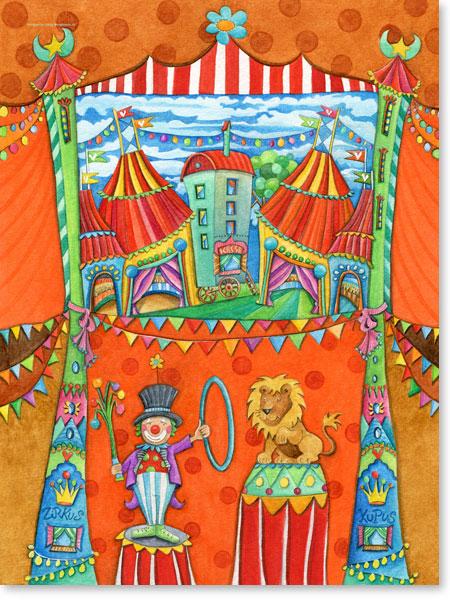 Aquarell Zirkus Kubus - Leinwandbild fürs Kinderzimmer