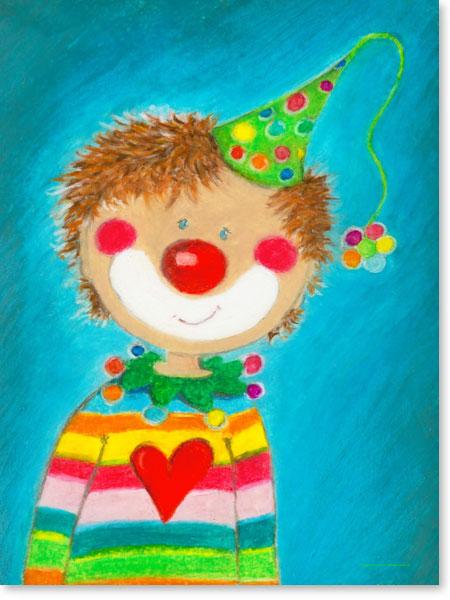 Pastellbild Clown Pepino - Wandbilder fürs Kinderzimmer