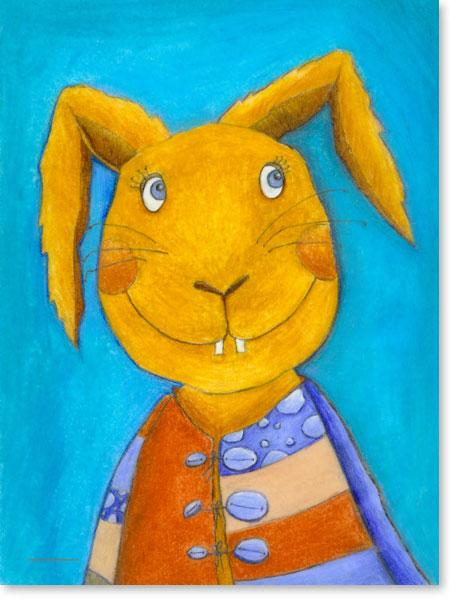 Pastellbild Hopsi Hase - Wandbild fürs Kinderzimmer