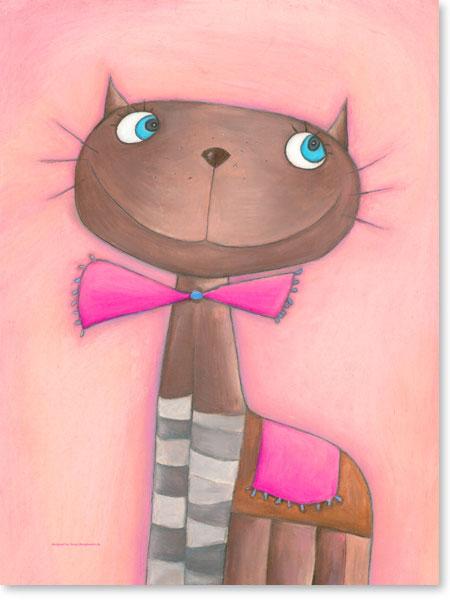 Pastellbild Katze Candy Cat - Leinwanddruck fürs Kinderzimmer