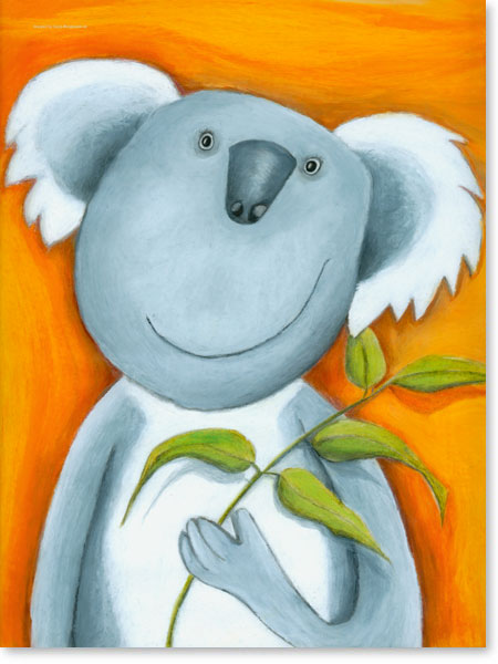 Pastellbild Koala Bär - Wandbild fürs Kinderzimmer