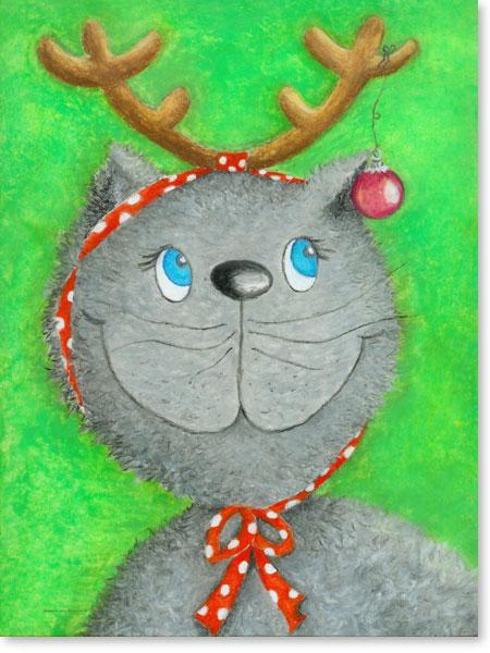 Pastellbild Weihnachtskatze Lina - Wandbild fürs Kinderzimmer
