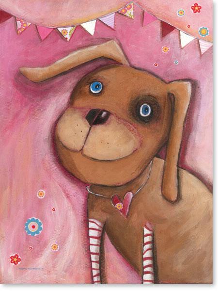 Acrylbild Hund Rosalie - Wandbild fürs Kinderzimmer