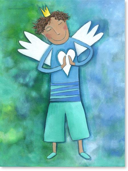 Acrylbild Schutzengel für Jungen - Wandbilder fürs Kinderzimmer