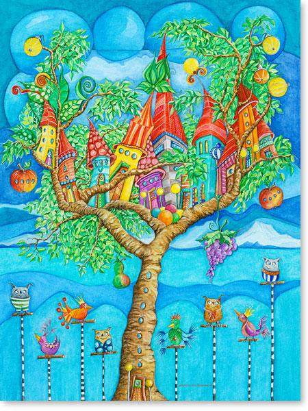 Das Märchen vom Baumhaus und seine gefiederten Freunde - Serie: Aquarellbilder fröhliche Motive fürs Kinderzimmer