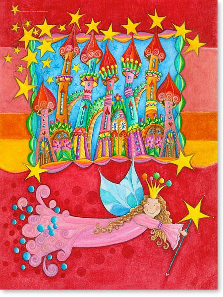 Die gute Fee vom Märchenschloss Sternenstaub - Serie: Aquarellbilder fröhliche Motive fürs Kinderzimmer