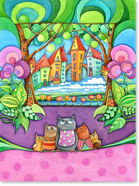 Eulen Familie - Mama Eule mit Kindern - Aquarellbilder Motive fürs Kinderzimmer