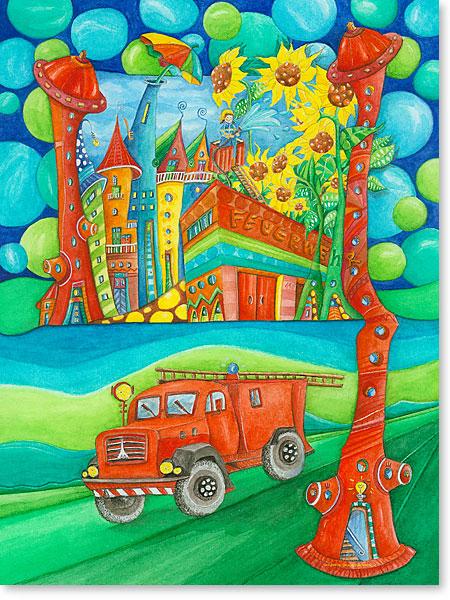 Wimmelbild / Suchbild Feuerwehr für Kinder - Serie: Aquarellbilder fröhliche Motive fürs Kinderzimmer