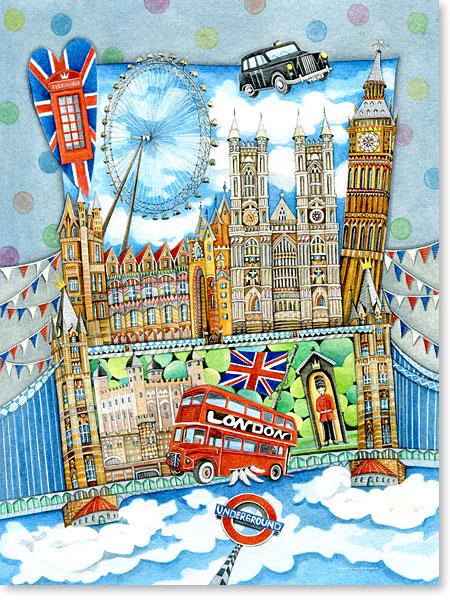 Wimmelbild / Suchbild London für Kinder - Serie: Aquarellbilder Motive fürs Kinderzimmer
