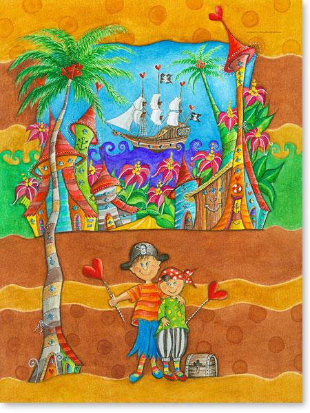 Piraten Seeräuber und der Piratenschatz - Serie: Aquarellbilder fröhliche Motive fürs Kinderzimmer