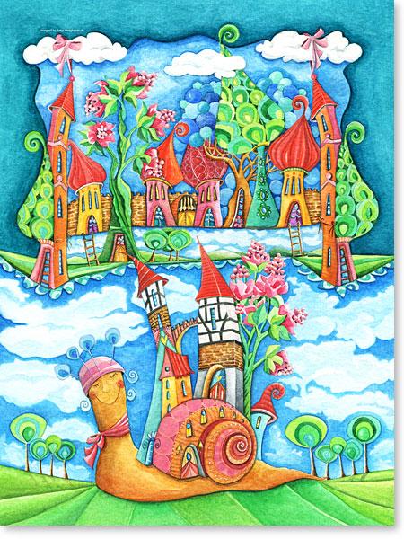 Die betagte Schnecke Gundula und ihre abenteuerlichen Geschichten - Serie: Aquarellbilder Motive fürs Kinderzimmer
