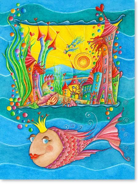 Unterwasserwelt - Die kleine Fisch Königin und die reise nach Atlantis - Serie: Aquarellbilder Motive fürs Kinderzimmer
