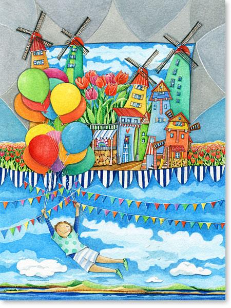 Windmühlen, bunte Luftballons, ein Luftballonstrauß und der Traum vom Fliegen - Serie: Aquarellbilder Motive fürs Kinderzimmer