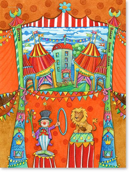 Der kleine Löwe Leo im Zirkus Kupus - Serie: Aquarellbilder Motive fürs Kinderzimmer