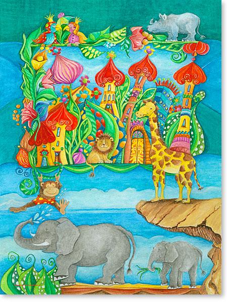 Äffchen JoJo zu Besuch im Tierpark Phantasie - Serie: Aquarellbilder fröhliche Motive fürs Kinderzimmer