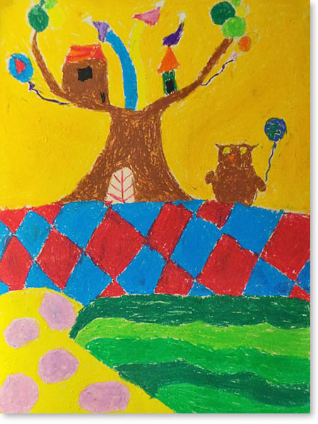 Kinderbild Motiv: Eulenstadt von Clara M.