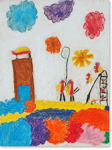Kunst fördert Kinder - Motiv: Marienkäferstadt von Hannah S.