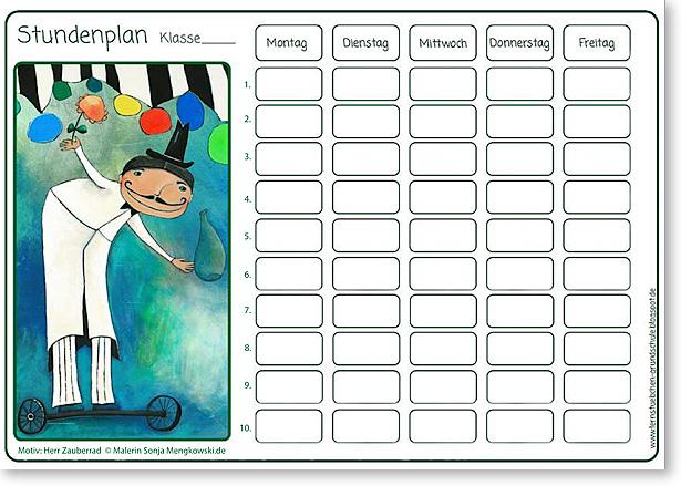 Stundenplan - Vorlage für die Ganztagsschule - Motiv: Zauberer