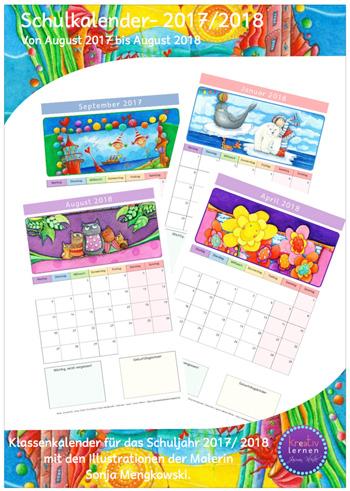 Klassenkalender Grundschule 2017 - 2018