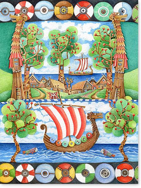Aquarell Haithabu - Wandbilder fürs Kinderzimmer