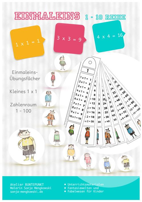 Kleines Einmaleins üben - Fächer Zahlenraum 1 - 100