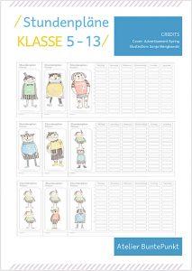 Stundenplan Druck- Vorlagen Klasse 5-13