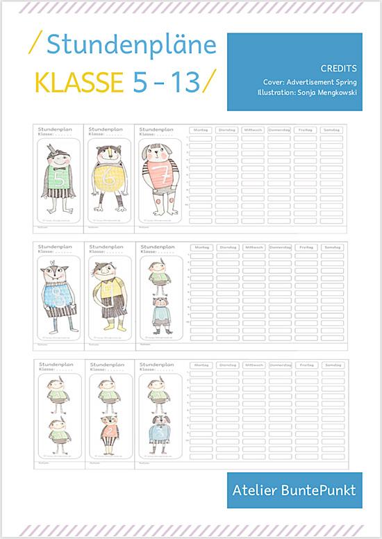 Stundenplan Druck- Vorlagen Klasse 5 - 13