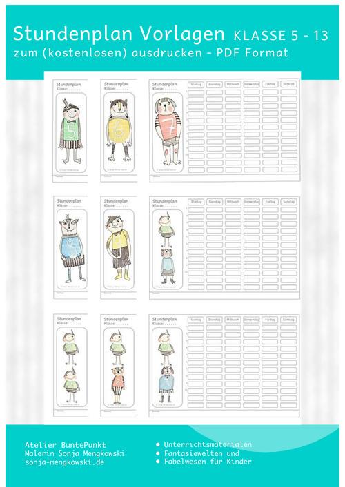 Stundenplan Vorlagen Klasse 5 - 13 zum ausdrucken