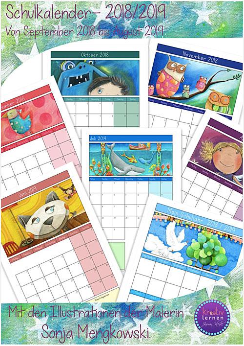 Schulkalender / Klassenkalender 2018-2019
