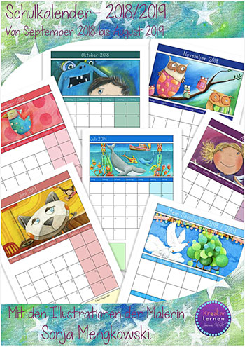 Schulkalender / Klassenkalender Grundschule 2018 - 2019