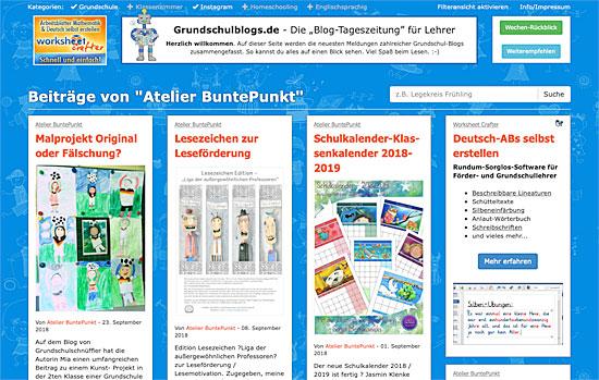Unterrichtsmaterial Atelier BuntePunkt auf Grundschulblags.de