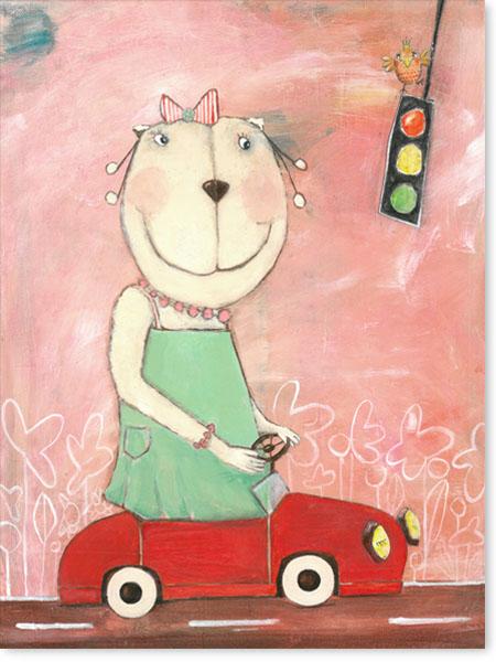 Frau Bär im Straßenverkehr - Serie: Acrylbilder Motive fürs Kinderzimmer