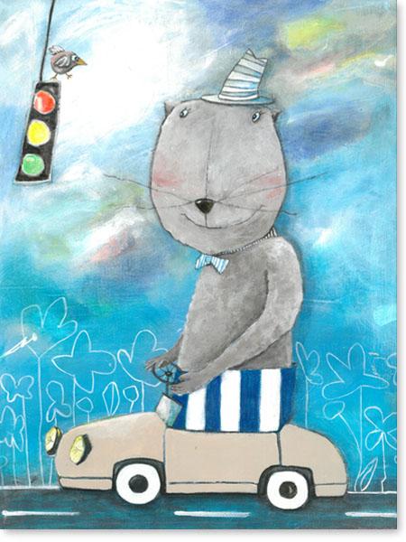 Herr Bär im Straßenverkehr - Serie: Acrylbilder Motive fürs Kinderzimmer