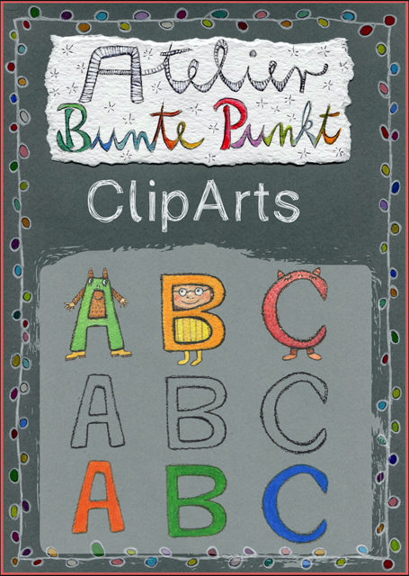 ClipArts - Buchstaben, Alphabet, ABC + Malvorlagen
