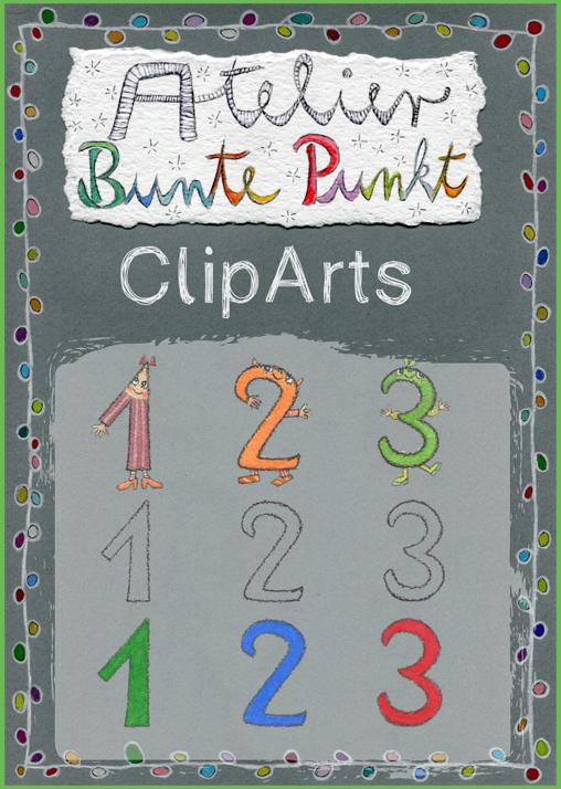ClipArts - Fröhliche Zahlen 0-9