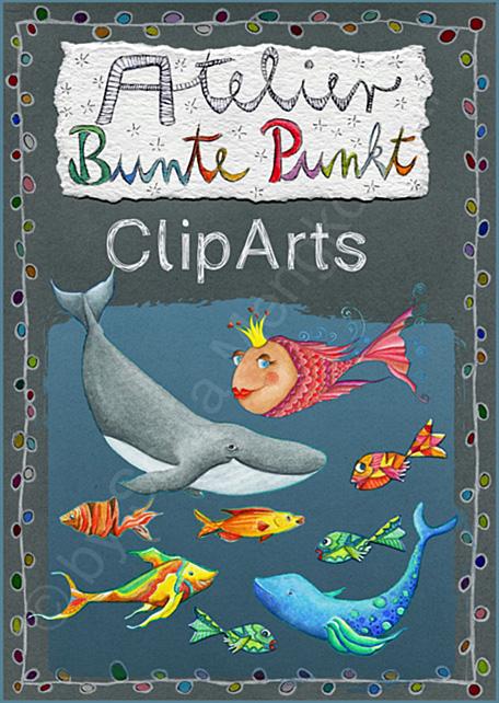 ClipArts: Fröhliche Meeresbewohner – Fische & Co