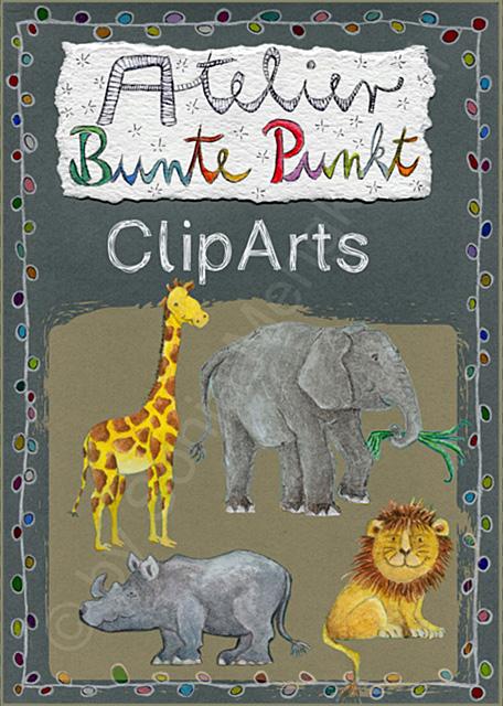 ClipArts: Tiere der Savanne - Elefanten, Giraffe, Nashorn, Löwe